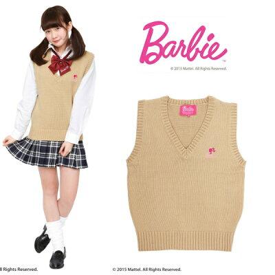 Barbie ベスト ベージュ M クリアストーン