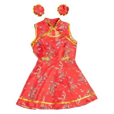 ハロウィン 仮装衣装 キュートチャイナガール 赤(1セット)