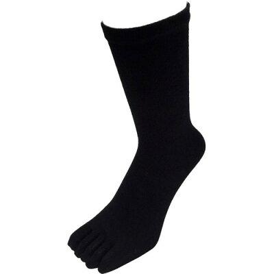 パックスエイジアン 天然素材綿 履き口ゆったり五本指ソックス ブラック(3足組入)