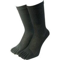 パックスエイジアン 天然素材綿麻メッシュ五本指靴下 クルー丈 2色アソート(2足組入)