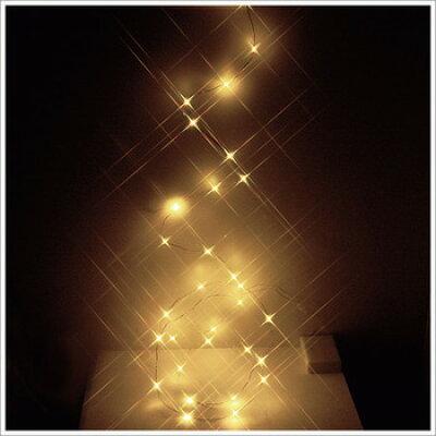電飾 温白色LED 30光イルミネーションライト(電池式/ワイヤーコード)