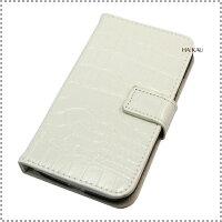 Samsung GalaxyS4 docomo SC-04E専用 レザーケース クロコダイル柄 横開き カード入れ付 フラップベルト留 (マグネット使用) ホワイト