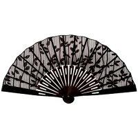 四国団扇 扇子 男女兼用 黒壇 リーフ柄 ブラウン 約19.5cm