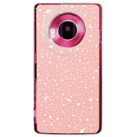 (docomo LUMIX Phone P-02D専用) プリントケース クリアベース(SPACE ベージュピンク)