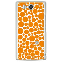 (docomo AQUOS PHONE ZETA SH-09D専用) プリントケース クリアベース(バブルドット ホワイト×オレンジ)