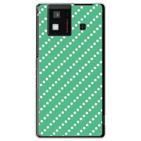(docomo AQUOS PHONE SH-06D専用) プリントケース クリアベース(ドットストライプ グリーン×ホワイト)