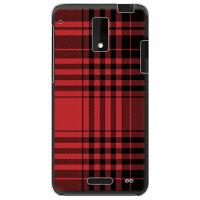 (au HTC J ISW13HT専用) プリントケース クリアベース(チェック レッド×ブラック)