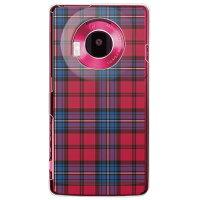 (docomo LUMIX Phone P-02D専用) プリントケース クリアベース(チェック レッド×ブルー)