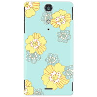 (docomo Xperia GX SO-04D専用)SECOND SKIN 全面プリントケース(uistore「patchwork flower (mint blue)」)