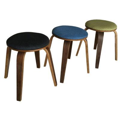スタッキングスツール/丸椅子 同色2脚セット 丸型 ファブリック地/木製フレーム ブラック(黒)