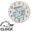 キーストーン 壁掛け時計 牛乳瓶のフタ風 ミルクキャップウォール クロック ブラウンズ