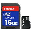 SANDISK SDSDQ-016G 16GB microSDHC SD用アダプタ付 バルク品