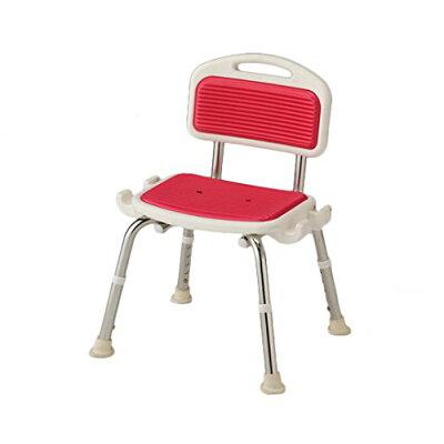 業務用シャワー椅子 ステンレスフレーム 肘無し レッド   -