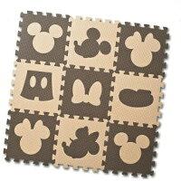 (ディズニー)デザインマット ミッキーマウス&ミニーマウス(ブラウン&ベージュ)9枚入り(ジョイントマット)