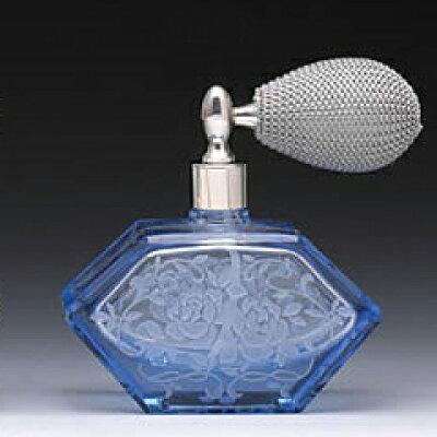 バルブ アトマイザー L ストレート 菱形 カットグラス サンドブラスト 10007 ブルー