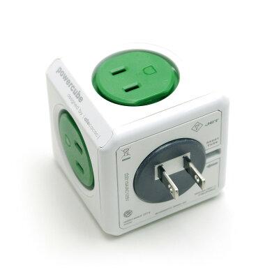 PowerCube パワーキューブ 電源タップ コンセント 直付型 グリーン/緑