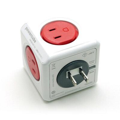 電源タップ power cube パワーキューブ  USBなし コンセント直付, 赤/レッド