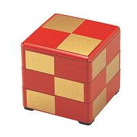 若泉漆器 3段重箱 5.5寸重 朱 金市松 内黒 1-459-23
