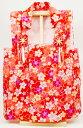 ひな祭りお被布着北寿監修 ちりめんお祝い着被布 花づくし赤白木製 専用飾り台付