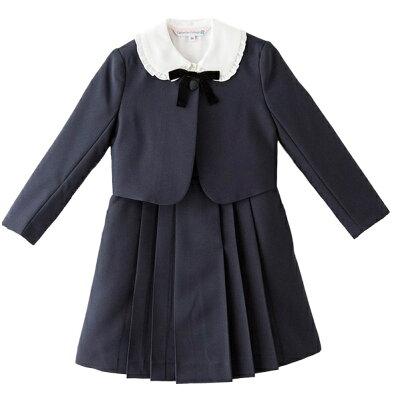 子供スーツ 女の子ブラウス付濃紺アンサンブルフォーマルスーツ  ジャンスカ・ボレロ・白ブラウス・リボン
