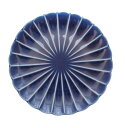 カネコ小兵 小兵さんちの食卓 ぎやまん陶 菊形14.5cm取皿 茄子紺ブルー