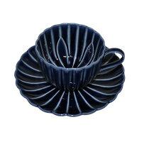 ぎやまん陶 コーヒーカップ&ソーサーセット 茄子紺ブルー
