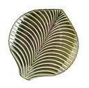 小兵さんちの食卓・ぎやまん陶 リーフ型大深皿  x x高さ 利休グリーン