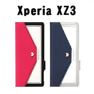 PGA XperiaXZ3用ダブルフリップカバー スクエア型ポケット PG-XZ3FP05PK