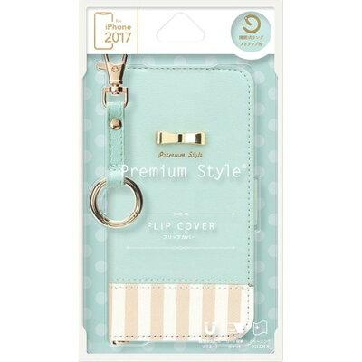 iPhoneX用 フリップカバー ストライプリボン ブルー PG-17XFP27BL(1コ入)