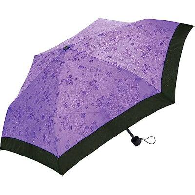 サントス 撥水すると柄が浮き出る 折りたたみ傘 50cm 桜うさぎ パープル JK-75-02