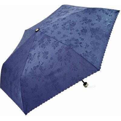 晴雨兼用 濡れると柄が浮き出る 撥水加工 折りたたみ傘 ローズ ネイビー JK-86-04