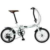 シボレー 16型 折りたたみ自転車 シボレー クラシック FDB166 ホワイト/外装6段変速 14296-12