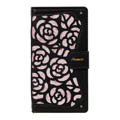 ナチュラルデザイン マルチタイプ 手帳型ケース La Roseraie Black x Pink ML-Rose05