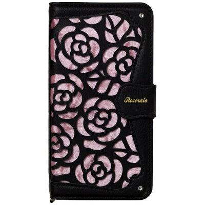 ナチュラルデザイン iPhone X用 手帳型ケース La Roseraie ブラック ピンク IP8ROSE05