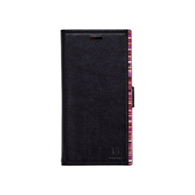 ナチュラルデザイン iPhone XR 6.1 手帳型ケース アクセントボーダー Black x