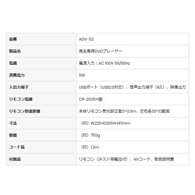 DVDプレイヤー ADV-02