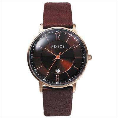ADEXE アデクス 2043B-01 ユニセックス 腕時計 PETITE プチ 33mm ローズゴールド ダークブラウン