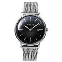 ADEXE アデクス 2043A-T01 ユニセックス 腕時計 PETITE プチ 33mm シルバー ブラック メッシュ