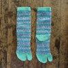 TUTUMU/ライン柄足袋靴下 ブルー L