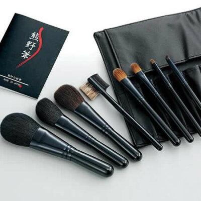 ゼニス 熊野化粧筆セット 筆の心 ブラシ専用本革ケース付 KFi-K508
