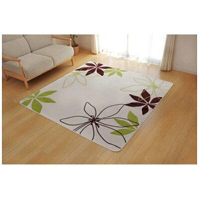 イケヒコ・コーポレーション ラグ カーペット 2畳 洗える 花柄 リーフ柄 WSパキラ グリーン 約185×185cm ホットカーペット対応