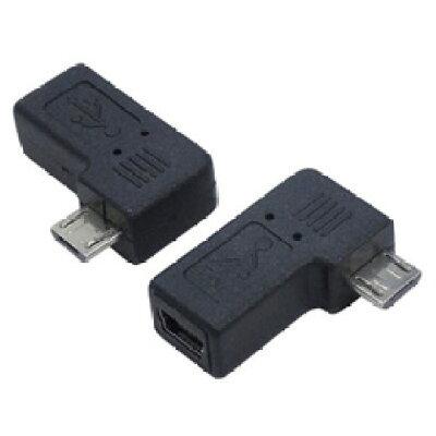 変換名人 変換プラグ USB mini5pin→microUSB 右L型 USBM5-MCRLF(1セット)