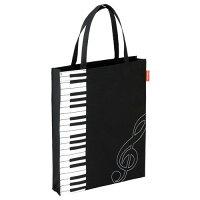 Pianoline 縦型トートバッグ 縦鍵盤&ト音記号柄 マチあり ピアノレッスンバッグ 音楽モチーフ