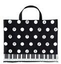 Pianoline ボタンで2WAYトートバッグ 水玉音符&鍵盤柄 レッスンバッグ 音楽バッグ