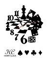 HARRYCLOCK転写式時計付きウォールステッカーモダントランプチェス/ブラック約45cm×45cm