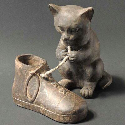アンティーク調 モールドアニマル いたずら 猫 置物 オブジェ いたずら ねこ ネコ