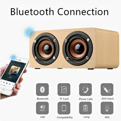 AGM ブルートゥース ウッド スピーカー Bluetooth 木製