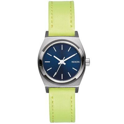 ニクソン スモールタイムテラーレザー SMALL TIME TELLER LEATHER 腕時計 レディース ネイビー/ネオンイエロー NA5092080-00
