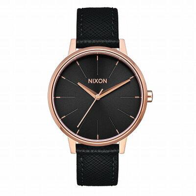 NIXON THE KENSINGTON LEATHER ケンジントンレザー レディース腕時計 ローズゴールド ブラック NA1081098-00 kbカ