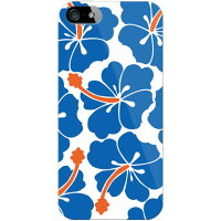 docomo 北欧ハイビスカス ブルー (クリア) / for iPhone 5s/docomo (SECOND SKIN)